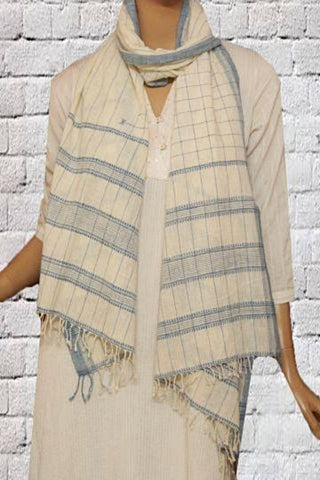 Indigo checks Kala Cotton Khadi Stole