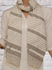 Gray Stripped Handwoven Khadi Stole