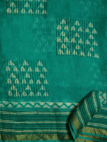 Blue Green triangles Hand Printed Kota Silk Saree
