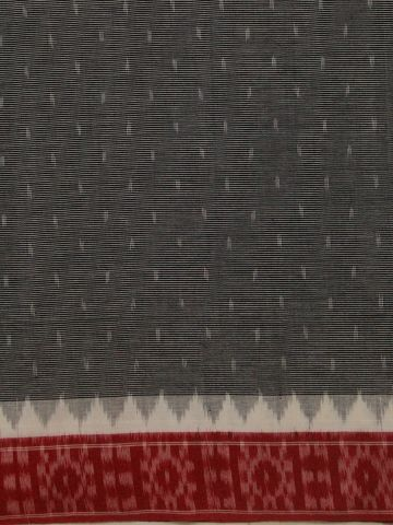 Grey with Red Fine Striped Handwoven Bordered Ikat Fabric