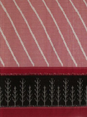 Light Pink with Black bordered Ikat Fabric