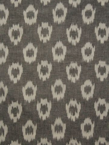 Grey With White Handwoven Ikat Fabric