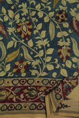 Indigo With Red Bordered Floral Kalamkari Chanderi Saree
