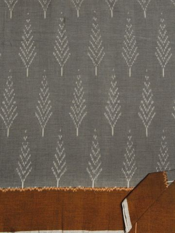 Grey With Brown Handwoven Ikat Cotton Saree
