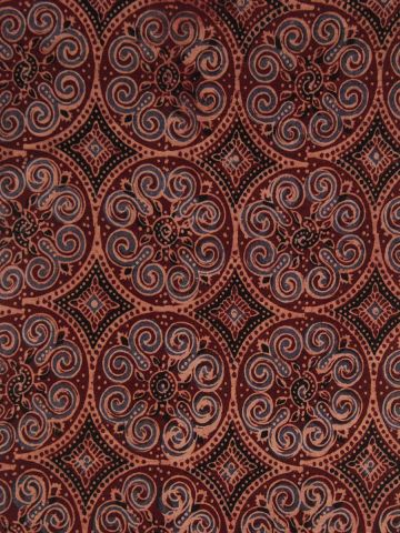 Intricate Circles Hand Printed Ajrak Cotton Fabric