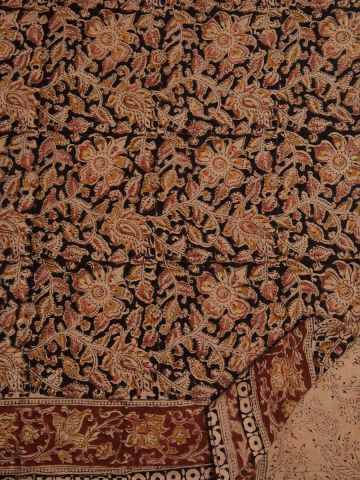 Black With Pink And Yellow Floral Hand Printed Kalamkari Saree