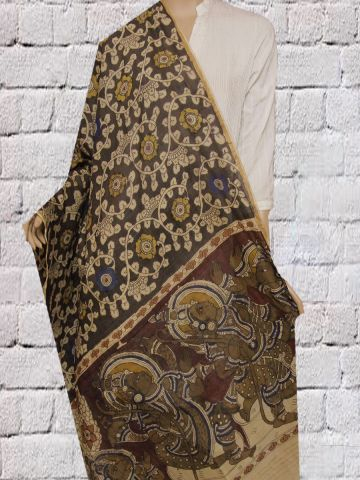 Black Floral With Yellow and Blue Flower Hand Painted Chanderi Dupatta