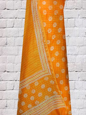 Yellowish Orange With White Printed Chanderi top and Dupatta