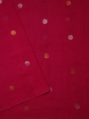 Pink gold  and silver polka dots Fine Handwoven Jamdani Fabric