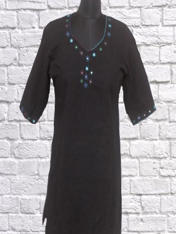 Black Mirror work stitched Kurti