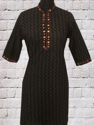 Black Mirror work Lambani Short Kurta