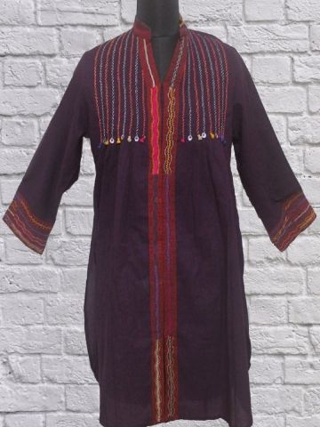 Dark Purple Hand Embroidered Flared Short Kurta