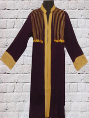 Dark Purple With Yellow Hand Embroidered Short Kurta
