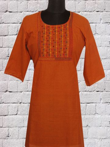 Orange Hand Embroidered Short Kurti