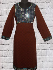 Brownish Maroon Hand Embroidered  Kurta