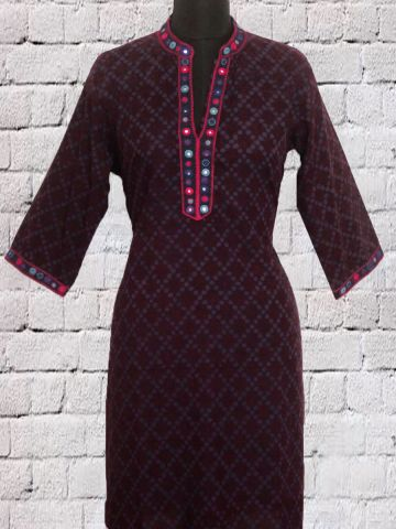 Dark Purple Hand Embroidered Lambani Short Kurta