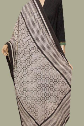 Off White with Black Stars Printed Mul Cotton Dupatta