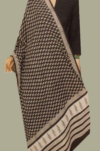 Black Small Floral Printed Mul Cotton Dupatta