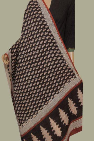 Black with Brown Printed Mul Cotton Dupatta