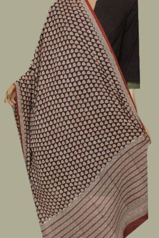 Brown with Off White Peepal Leaves Printed Mul Cotton Dupatta