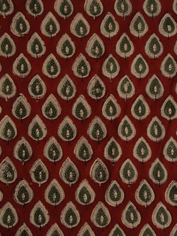 Red With Green Leaves Block Printed Fabric
