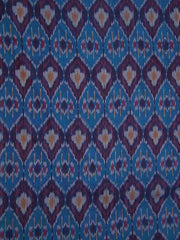 Blue Subtle Stripes Diamond Pattern Handwoven Ikat Fabric -2m
