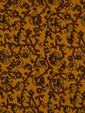 Yellow Floral Block Printed Ajrak cotton fabric