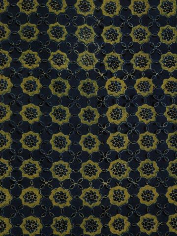 Indigo with Yellow Stars Block printed Cotton Fabric