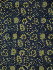Indigo with Yellow Block Printed Cotton Ajrak Fabric