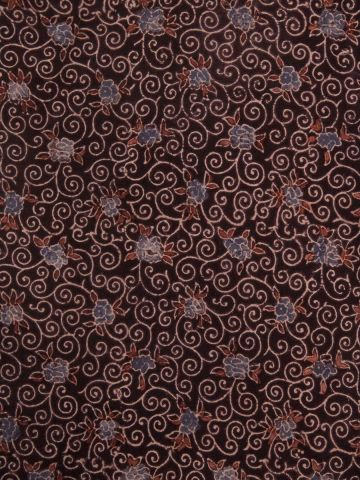Dark Brown Floral Block Printed Cotton Ajrak Fabric