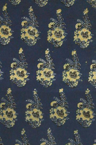 Indigo with Yellow Flower Block printed Cotton Fabric -1.3m
