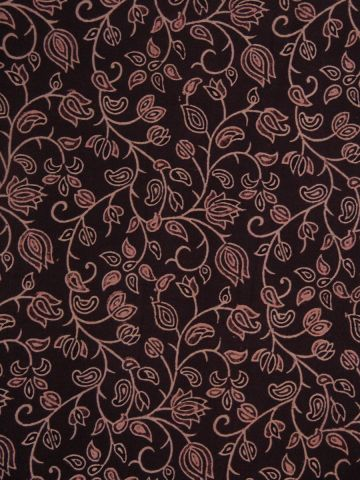 Lotus In Brown Block printed Cotton Fabric-0.5m