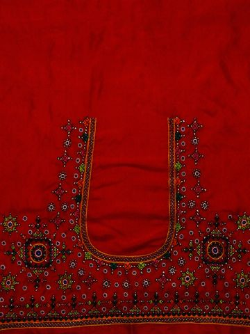 Red With Green Silk Hand done Kutch Work Blouse Fabric