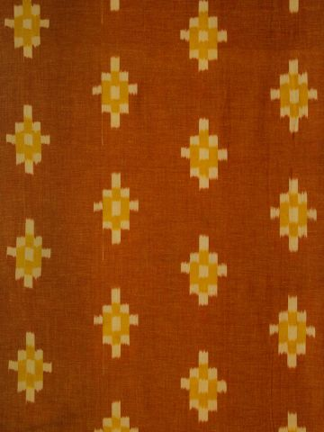 Orange Checks Pattern Handwoven Ikat Fabric-1.45 m
