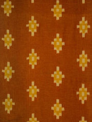 Orange Checks Pattern Handwoven Ikat Fabric-1.9 m