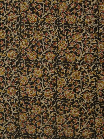 Black With Pink And Yellow Kalamkari Cotton Fabric