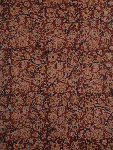 Red With Indigo Floral Printed Kalamkari Cotton Fabric