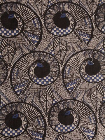 Black With Blue Spirals Screen Printed Kalamkari Cotton Fabric -1.5m