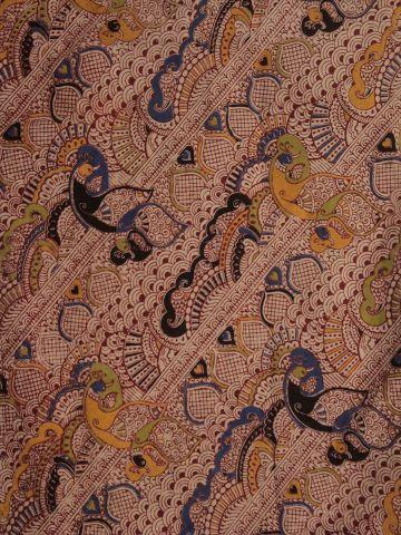 Beige with Maroon Intricately Screen Printed Kalamkari Cotton Fabric - 1.8m