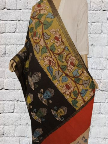 Faces And Floral Hand Painted Kalamkari Cotton Dupatta