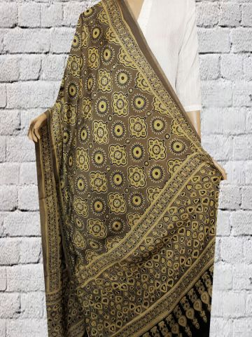 Grey With Yellow Block Printed Modal Silk Dupatta