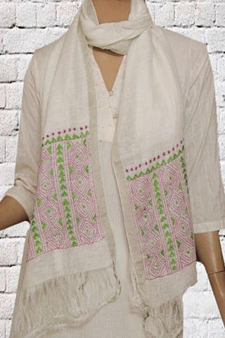 White Kantha Hand Embroidered Linen Stole