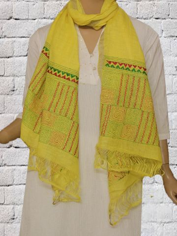 Yellow with Green  Kantha Hand Embroidered Linen Stole