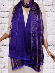Royal Blue Handwoven Ikat Patola Silk Stole