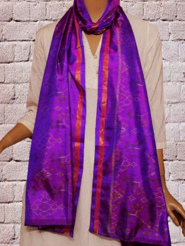 Purple Handwoven Patola Silk Stole