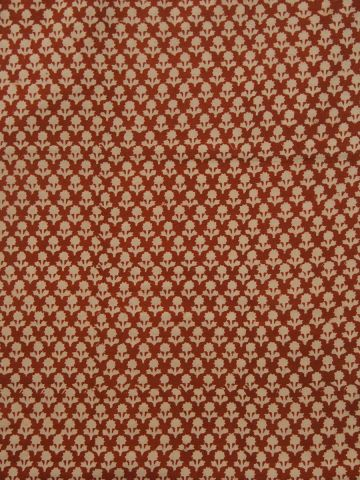 Rust Red small Flowers Block Printed Fabric
