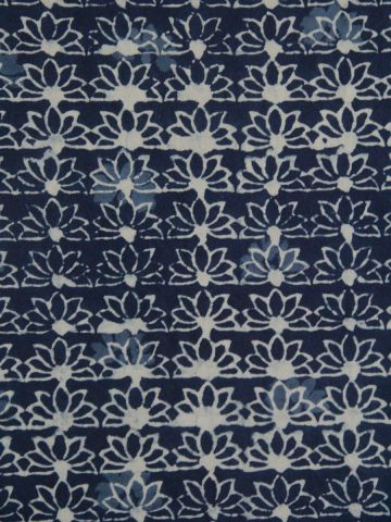 Indigo Lotus Block Printed Fabric