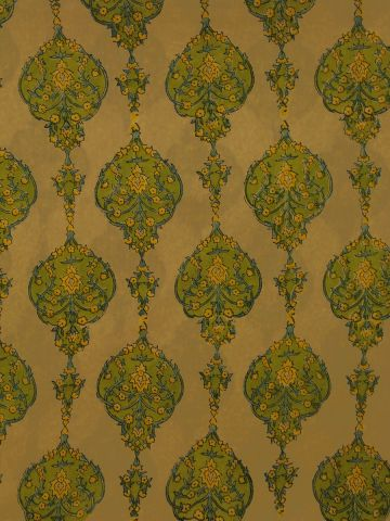 Light Yellow With Green Block Printed  Mul Cotton Fabric
