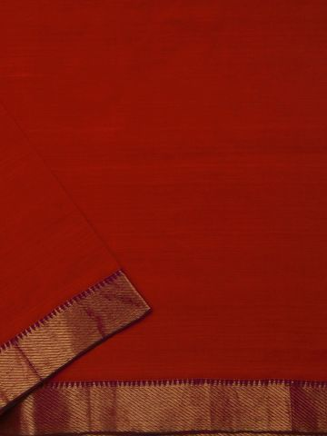 Orangish Red Mangalagiri Zari border Handwoven Cotton Fabric