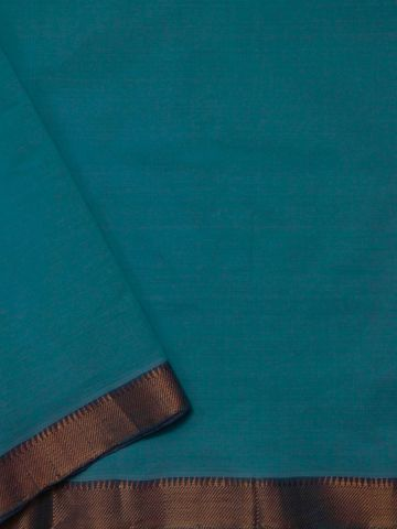Ramar Blue Zari Border Handwoven Cotton Fabric